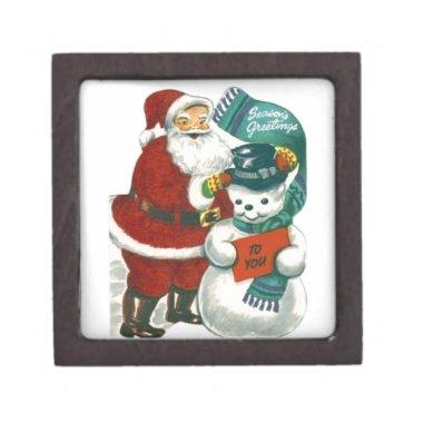 vintage Santa snowman Christmas winter holiday art Jewelry Box