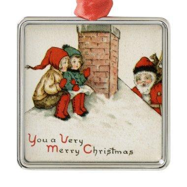 vintage Santa snowman Christmas winter holiday art Metal Ornament