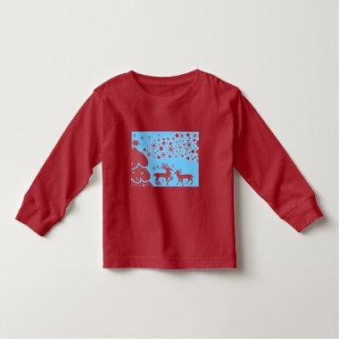 vintage Santa snowman Christmas winter holiday art Toddler T-shirt