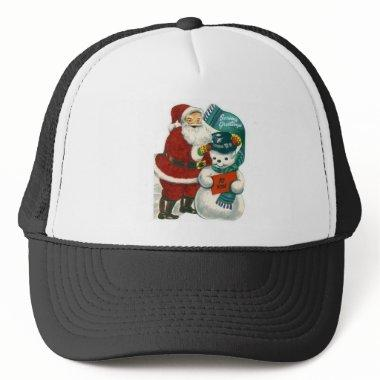 vintage Santa snowman Christmas winter holiday art Trucker Hat