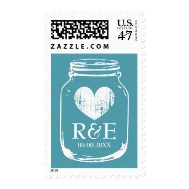 Vintage teal mason jar 49 cent wedding stamps