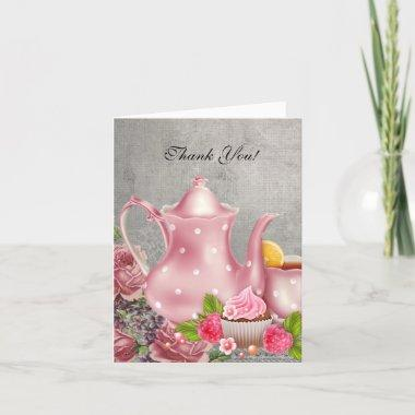 Vintage Thank You Invitations Tea Pink Flowers