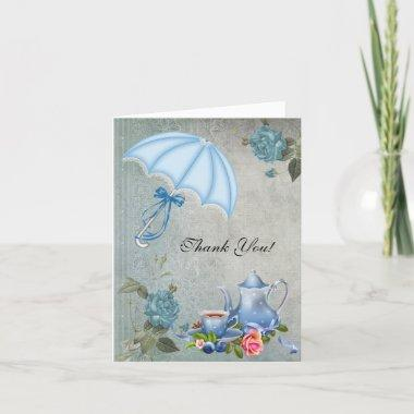 Vintage Thank You Invitations White Blue Tea Flowers