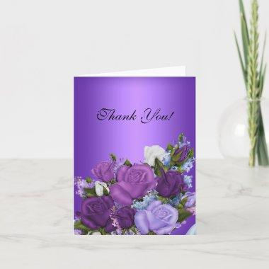 Vintage Thank You Invitations White Roses Purple Flowers
