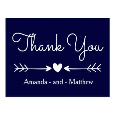 Vintage Thank You Navy Blue & White Heart & Arrows Post