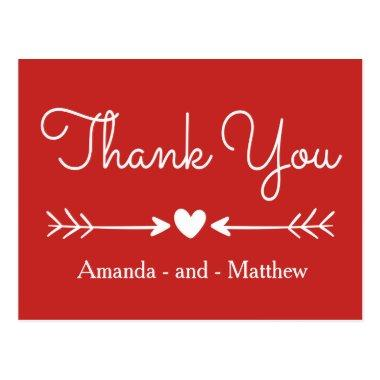 Vintage Thank You Red & White Heart & Arrows PostInvitations