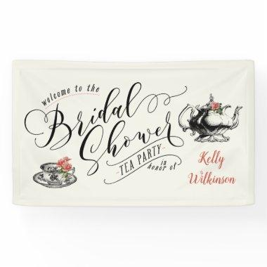 Vintage Typography Bridal Shower Tea Party Banner