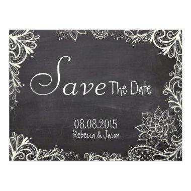 vintage typography Chalkboard save the date Post