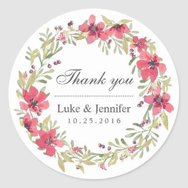 Vintage Watercolor Pink Floral Wreath Sticker