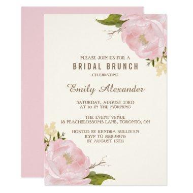 Vintage Watercolor Pink Peonies Bridal Brunch