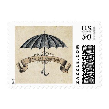 Vintage You are Invited Umbrella Postage Stamp