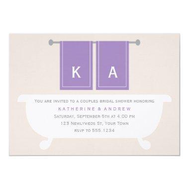 Violet Monogrammed Bath Towels Bridal Shower Invitations