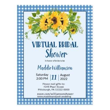 Virtual Bridal Shower Rustic Country Floral PostInvitations