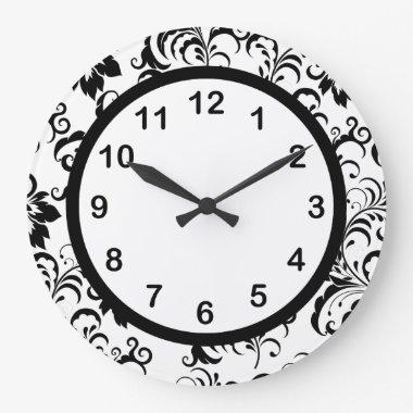 Wall Clock Black White Trim Damask Floral (3)