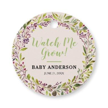 Watch Me Grow Floral Wreath Purple Baby Shower Favor Tags