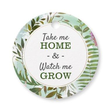 Watch Me Grow Greenery Baby Shower Sprinkle Round Favor Tags