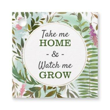 Watch Me Grow Greenery Baby Shower Sprinkle Square Favor Tags