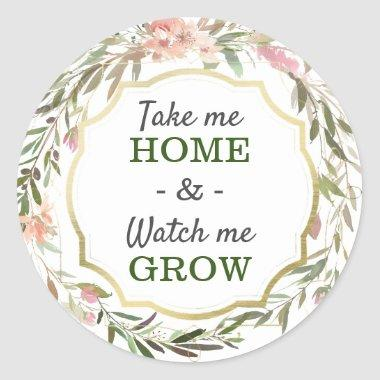 Watch Me Grow Rustic Chic Baby Shower Sprinkle Classic Round Sticker