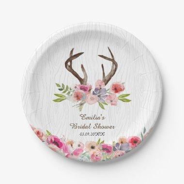 Watercolor Antlers Wildflowers Faux Bois Shower Paper Plate