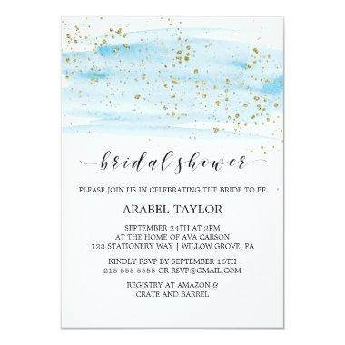 Watercolor Blue and Gold Sparkle