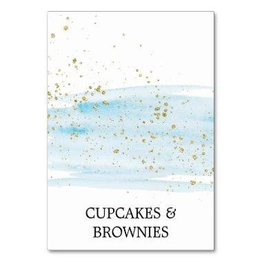 Watercolor Blue and Gold Sparkle Food Tent Invitations