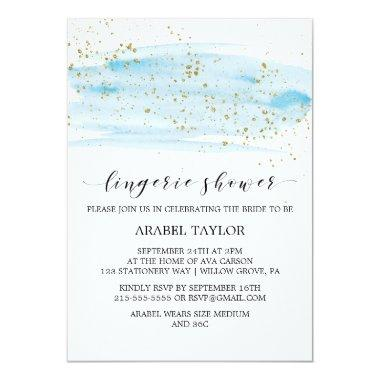 Watercolor Blue and Gold Sparkle Lingerie Shower