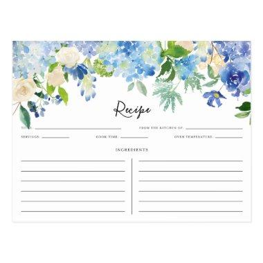 Watercolor Blue and Purple Hydrangeas Recipe Invitations