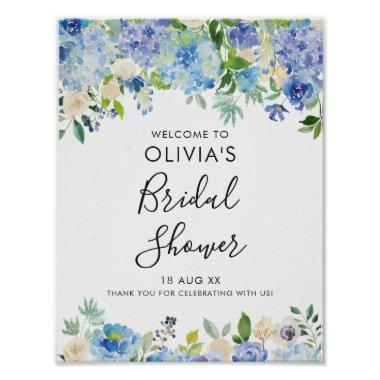 Watercolor Blue Hydrangeas Bridal Shower Welcome Poster