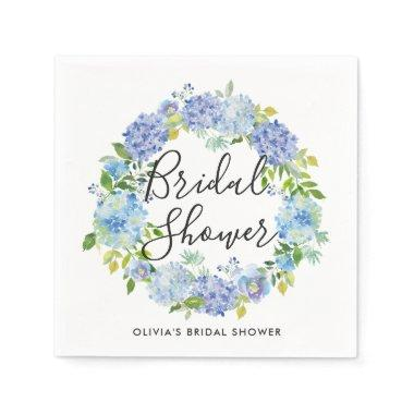 Watercolor Blue Hydrangeas Wreath  Paper Napkin