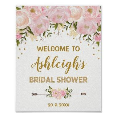 Watercolor Blush Peonies Bridal Shower Welcome Poster