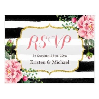 Watercolor Blush Pink Floral Stripes RSVP Post