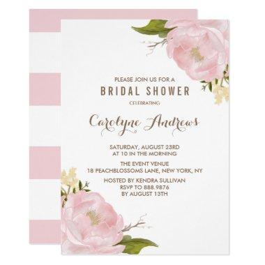 Watercolor Blush Pink Peonies Bridal Shower Invitations