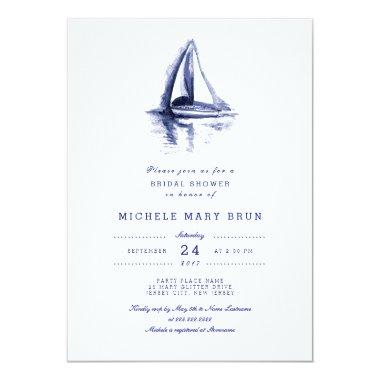 Watercolor Boat Navy Blue  Invite