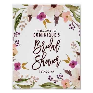 Watercolor Bohemian Floral Wreath  Poster