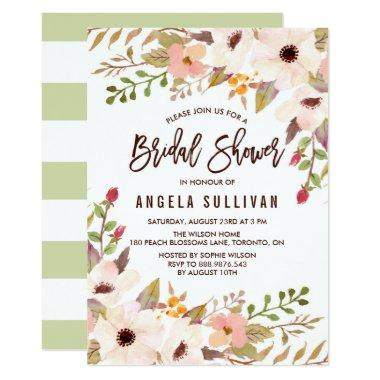 Watercolor Bohemian Flowers Bridal Shower Invitations