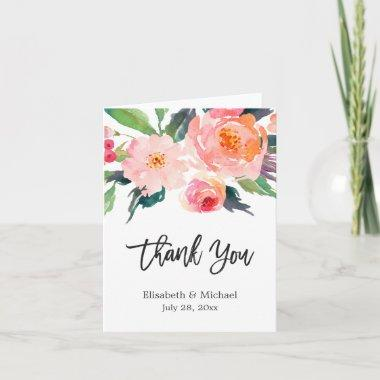 Watercolor Botanical Floral Calligraphy Thank You