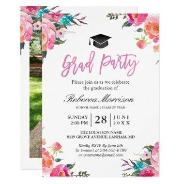 Watercolor Botanical Pink Floral Graduation Party