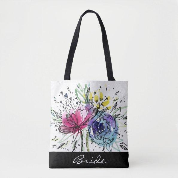 Watercolor Bouquet personalized tote bag.