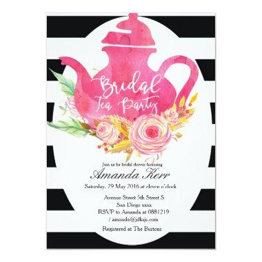 Watercolor Bridal Shower Tea Party Invitations