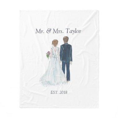 2c0b9db61fa Watercolor Bride   Groom Newlywed Mr Mrs Wedding Fleece Blanket
