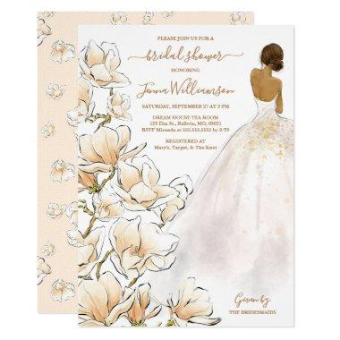 Watercolor Bride Magnolia Bridal Shower Invitations