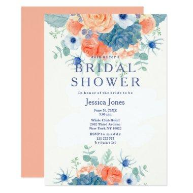Watercolor coral blue rustic floral Bridal Shower Invitations