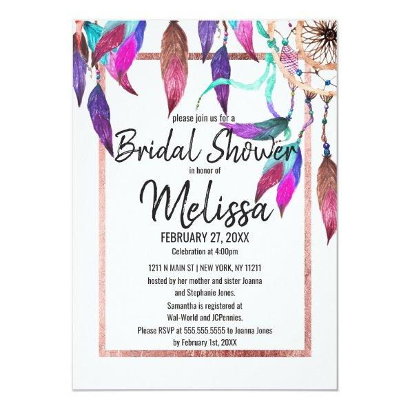 211 watercolor dreamcatcher rose gold bridal shower invitations