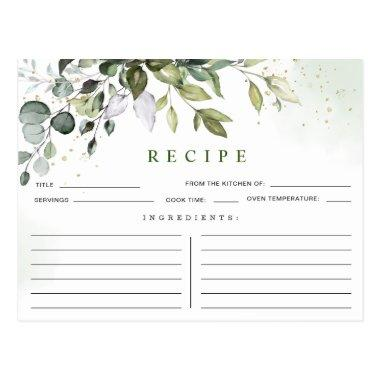 Watercolor Eucalyptus Bridal Shower Recipe Invitations