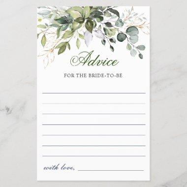 Watercolor Eucalyptus Greenery Advice Card