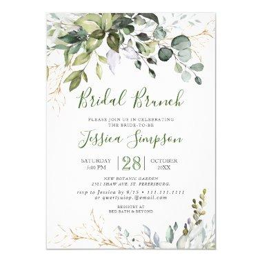 Watercolor Eucalyptus Greenery Bridal Brunch Invitations