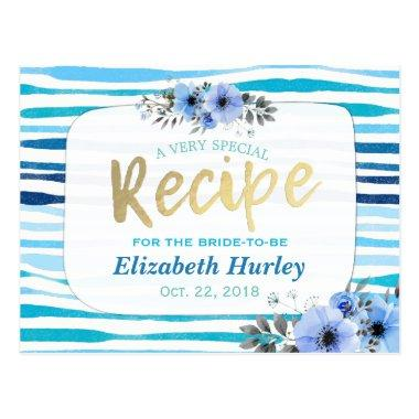 Watercolor Floral Blue Stripe  Recipe Post