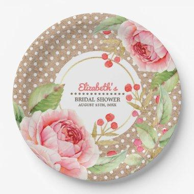 Watercolor Floral design  Paper Plate