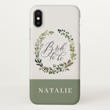 Watercolor floral + foliage wreath bride to be iPhone x case