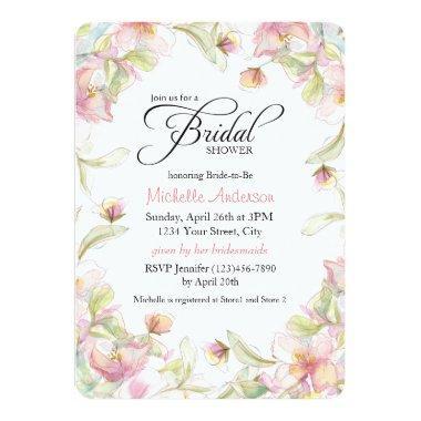 Watercolor Floral Frame Pastel Bridal Shower Invitations